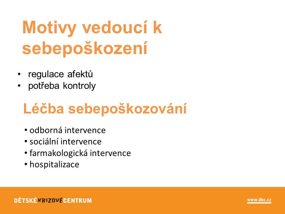 Motivy vedoucí k sebepoškození regulace afektů potřeba kontroly Léčba sebepoškozování odborná intervence sociální intervence farmakologická intervence hospitalizace