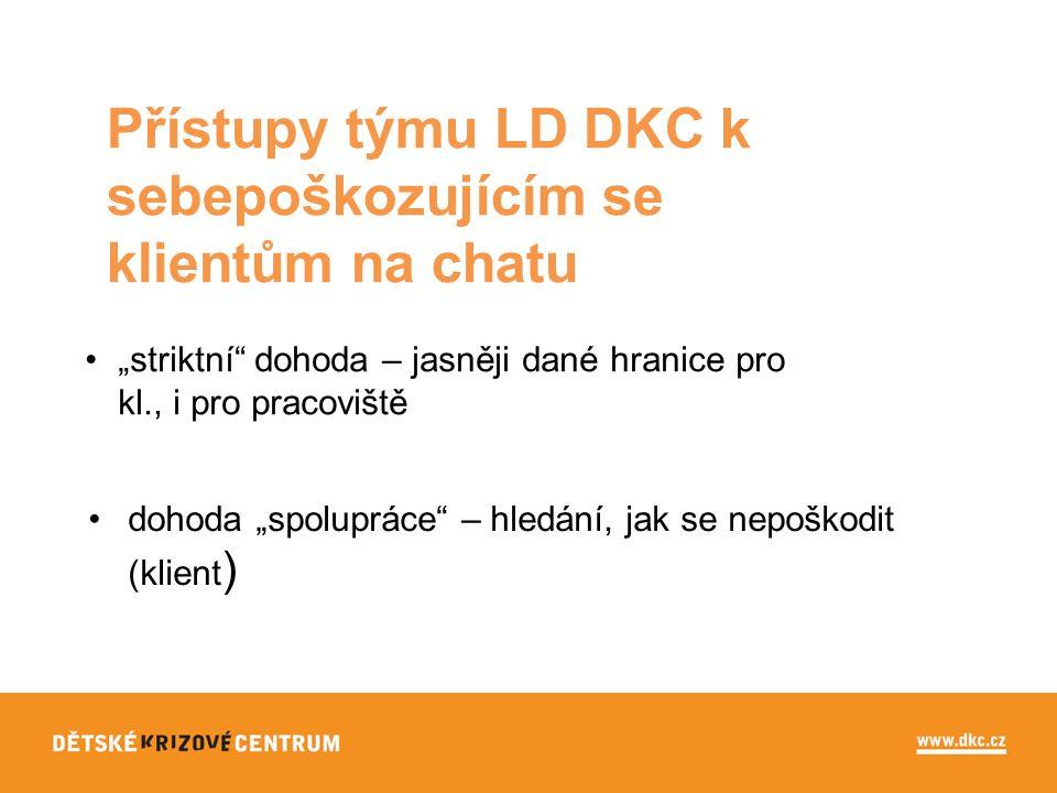 """Přístupy týmu LD DKC k sebepoškozujícím se klientům na chatu dohoda """"spolupráce – hledání, jak se nepoškodit (klient ) """"striktní dohoda – jasněji dané hranice pro kl., i pro pracoviště"""