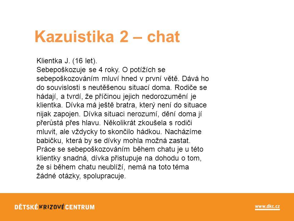 Kazuistika 2 – chat Klientka J. (16 let). Sebepoškozuje se 4 roky.