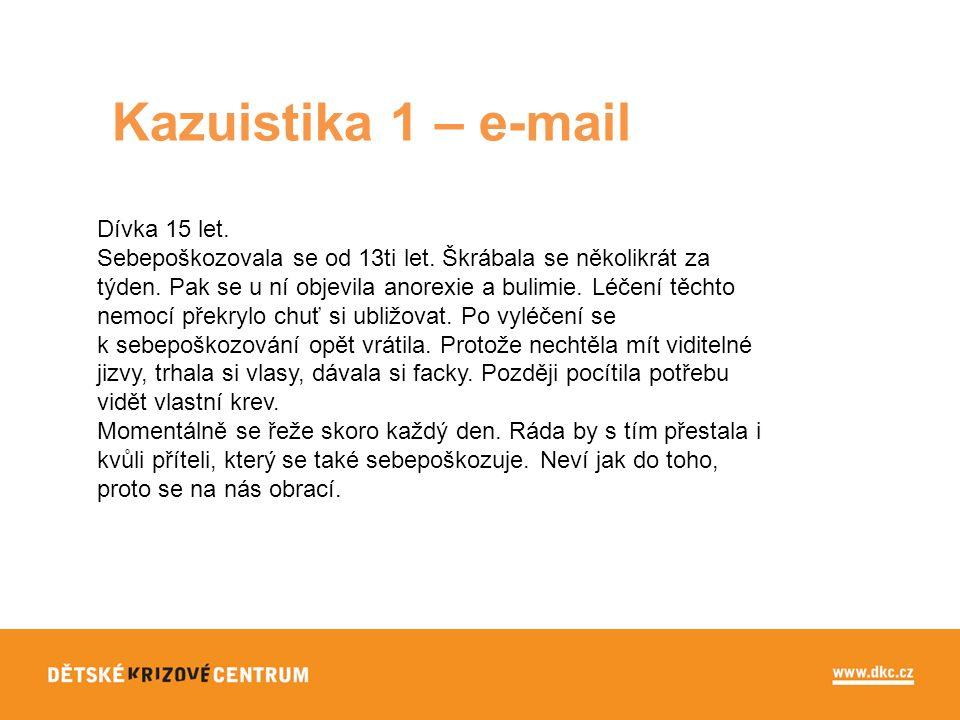 Kazuistika 1 – e-mail Dívka 15 let. Sebepoškozovala se od 13ti let.