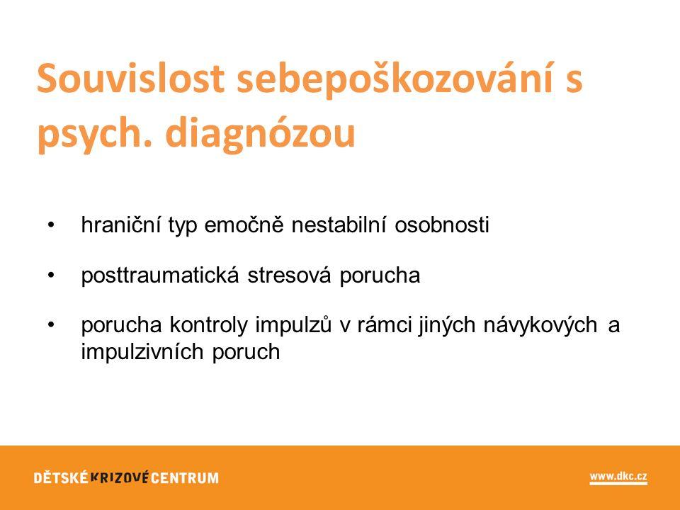 hraniční typ emočně nestabilní osobnosti posttraumatická stresová porucha porucha kontroly impulzů v rámci jiných návykových a impulzivních poruch Souvislost sebepoškozování s psych.