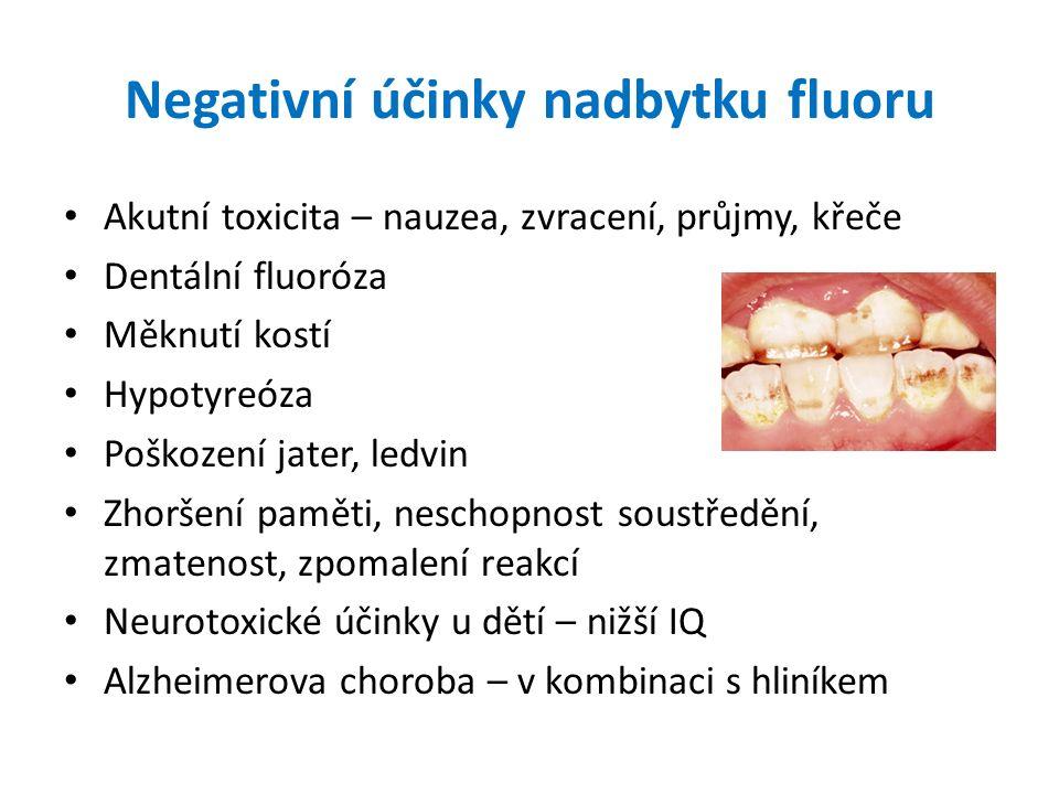 Negativní účinky nadbytku fluoru Akutní toxicita – nauzea, zvracení, průjmy, křeče Dentální fluoróza Měknutí kostí Hypotyreóza Poškození jater, ledvin