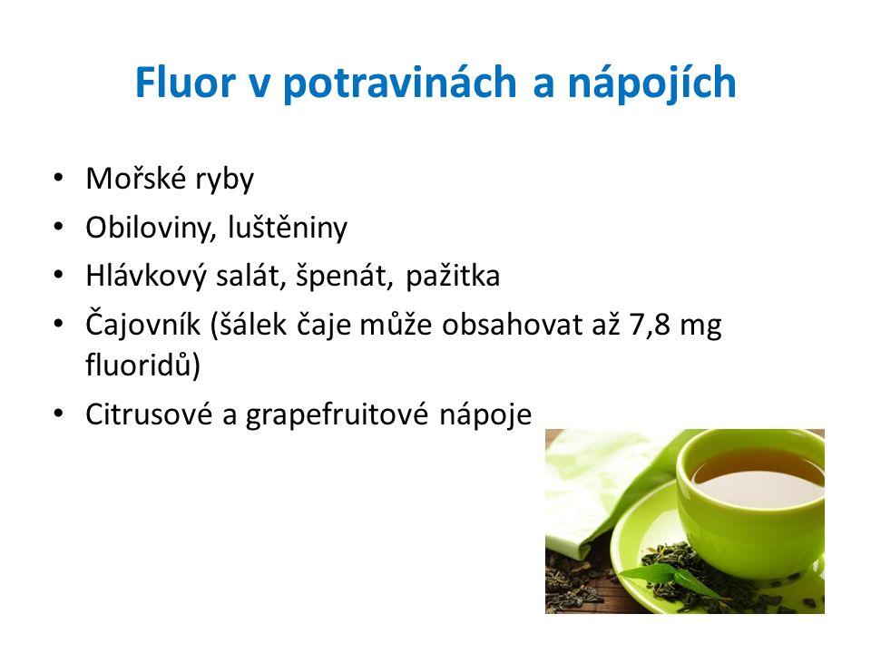 Fluor v potravinách a nápojích Mořské ryby Obiloviny, luštěniny Hlávkový salát, špenát, pažitka Čajovník (šálek čaje může obsahovat až 7,8 mg fluoridů