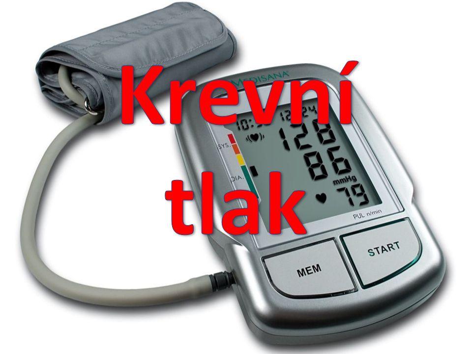 Krevní tlak  Krevní tlak je tlak, kterým působí krev na stěny cév (je vytvářen působením srdce jako krevní pumpy).