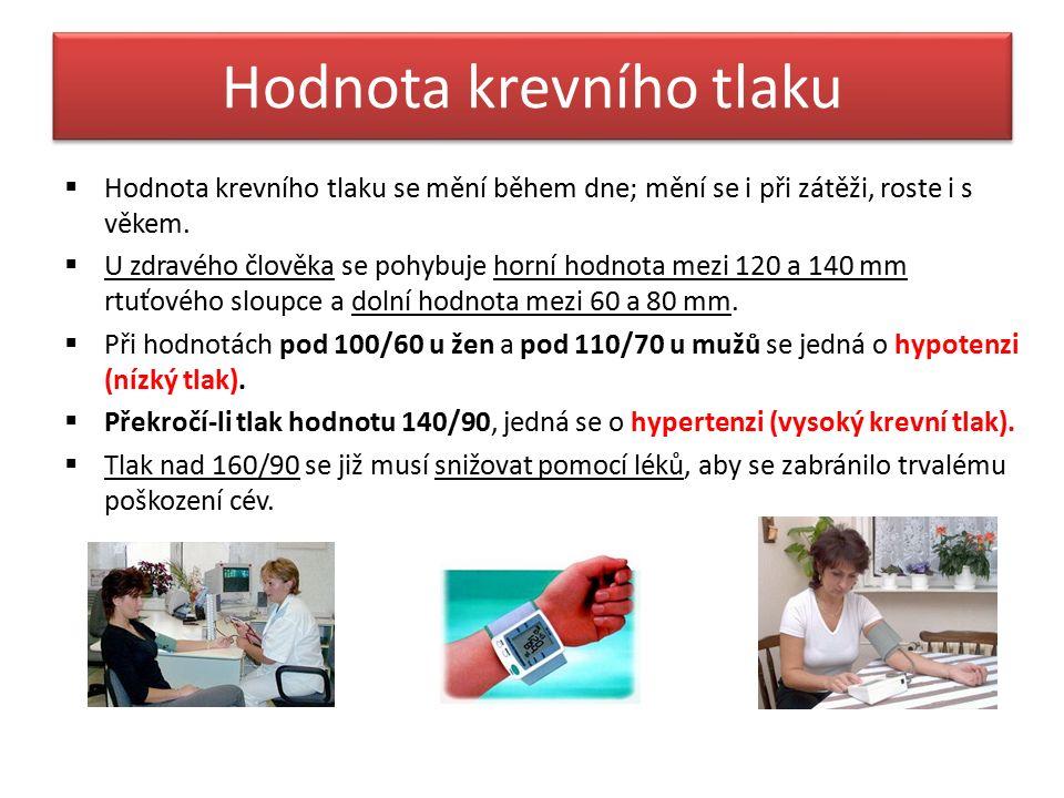 Hypotenze (nízký krevní tlak) Pojem arteriální hypotenze označuje nízký tlak krve v tepnách, tedy pokud tlak klesne pod 100/65 mm Hg.