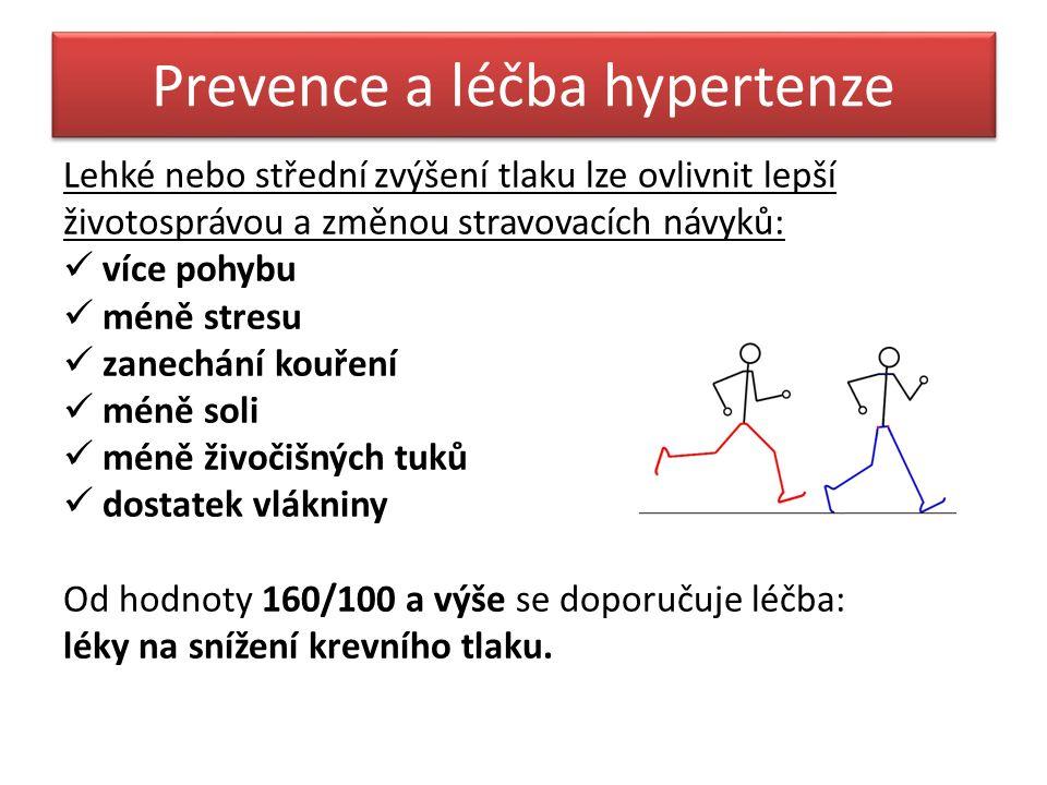 Prevence a léčba hypertenze Lehké nebo střední zvýšení tlaku lze ovlivnit lepší životosprávou a změnou stravovacích návyků: více pohybu méně stresu za