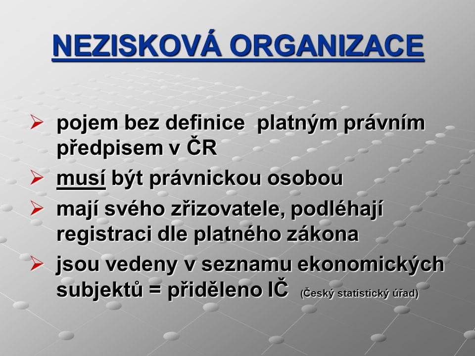 NEZISKOVÁ ORGANIZACE  pojem bez definice platným právním předpisem v ČR  musí být právnickou osobou  mají svého zřizovatele, podléhají registraci d