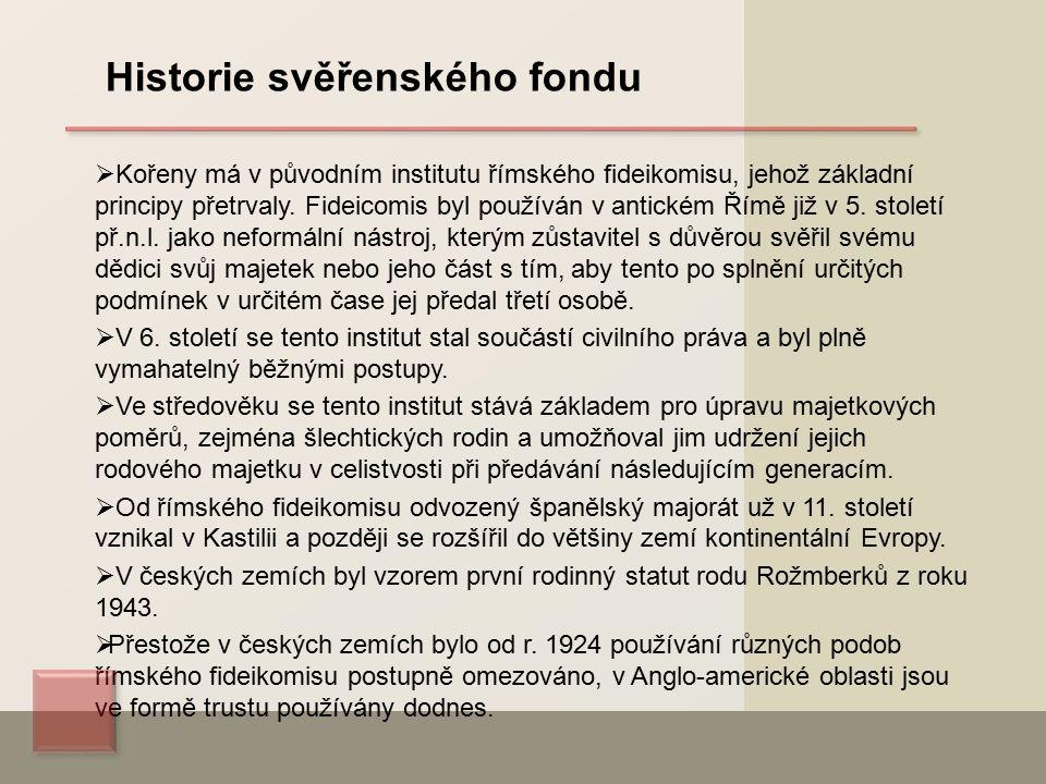  Kořeny má v původním institutu římského fideikomisu, jehož základní principy přetrvaly.