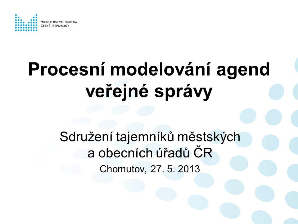 Procesní modelování agend veřejné správy Sdružení tajemníků městských a obecních úřadů ČR Chomutov, 27.