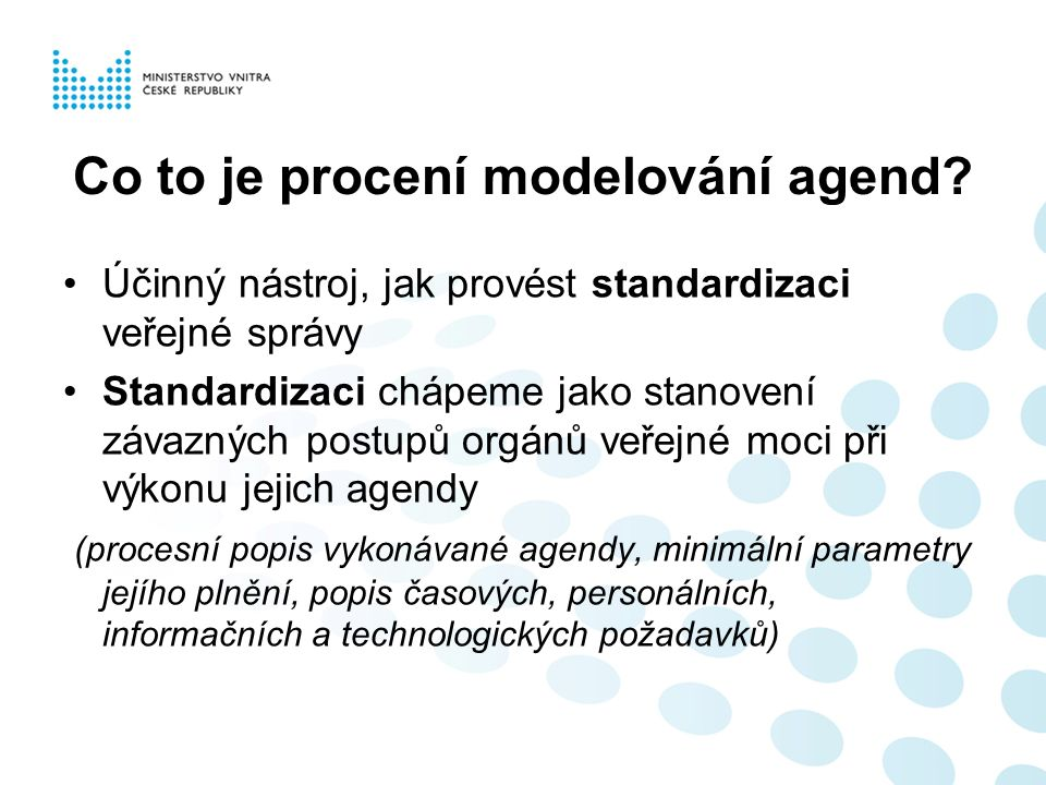 Co to je procení modelování agend.