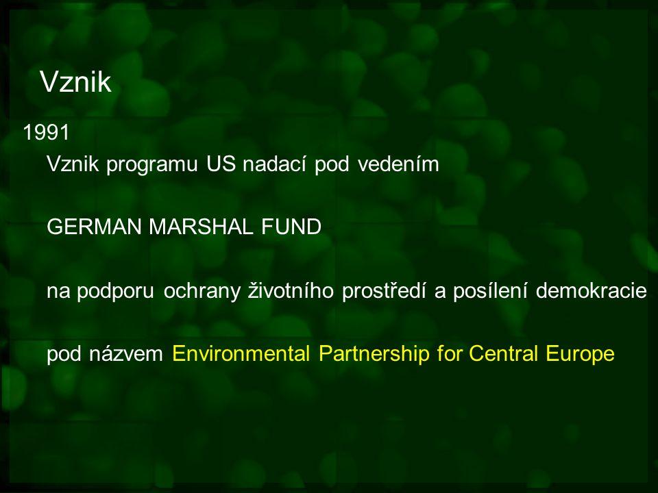 Vznik 1991 Vznik programu US nadací pod vedením GERMAN MARSHAL FUND na podporu ochrany životního prostředí a posílení demokracie pod názvem Environmental Partnership for Central Europe