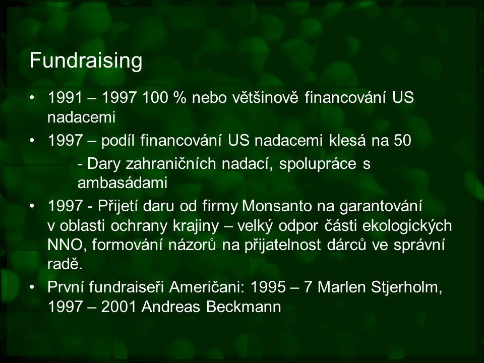 Fundraising 1991 – 1997 100 % nebo většinově financování US nadacemi 1997 – podíl financování US nadacemi klesá na 50 - Dary zahraničních nadací, spolupráce s ambasádami 1997 - Přijetí daru od firmy Monsanto na garantování v oblasti ochrany krajiny – velký odpor části ekologických NNO, formování názorů na přijatelnost dárců ve správní radě.