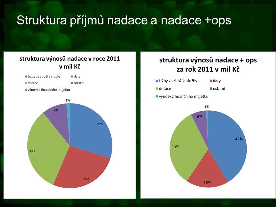 Struktura příjmů nadace a nadace +ops