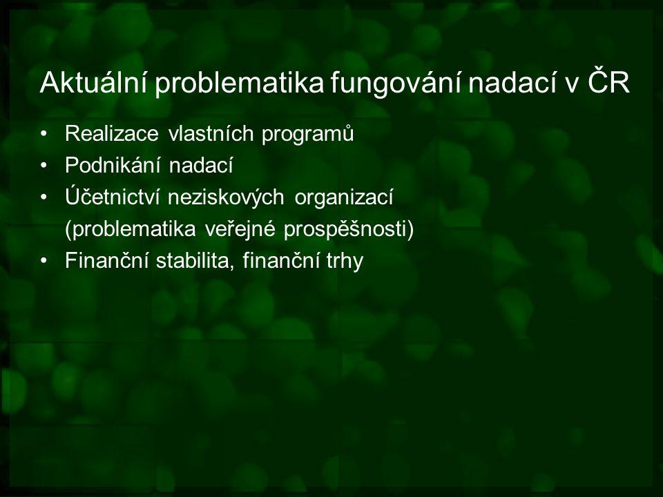 Aktuální problematika fungování nadací v ČR Realizace vlastních programů Podnikání nadací Účetnictví neziskových organizací (problematika veřejné prospěšnosti) Finanční stabilita, finanční trhy