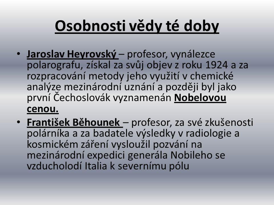 Osobnosti vědy té doby Jaroslav Heyrovský – profesor, vynálezce polarografu, získal za svůj objev z roku 1924 a za rozpracování metody jeho využití v