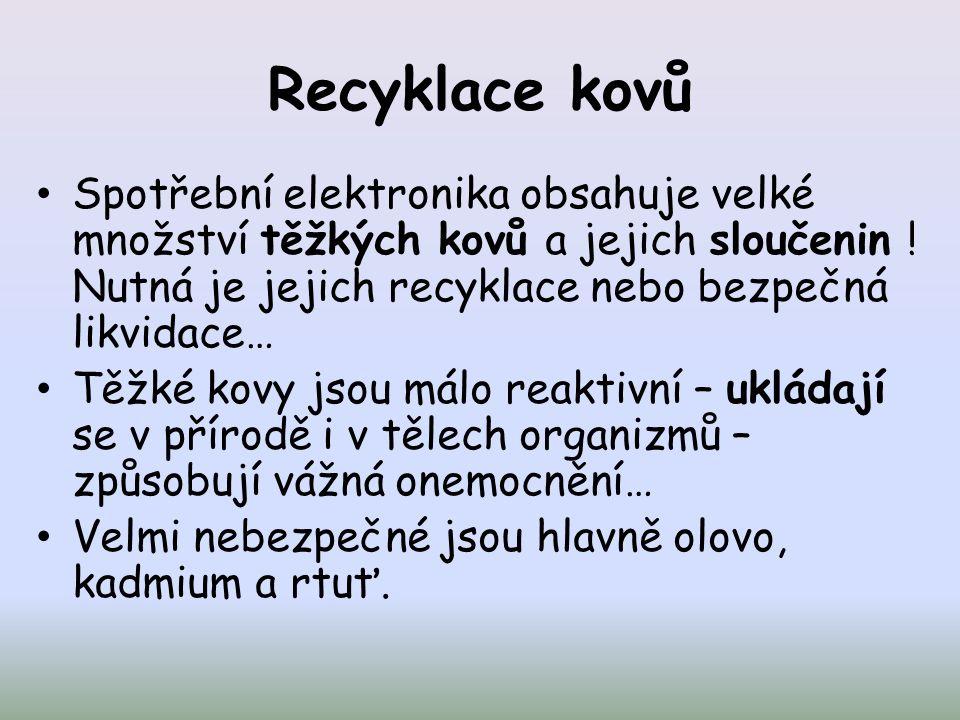 Recyklace kovů Spotřební elektronika obsahuje velké množství těžkých kovů a jejich sloučenin .