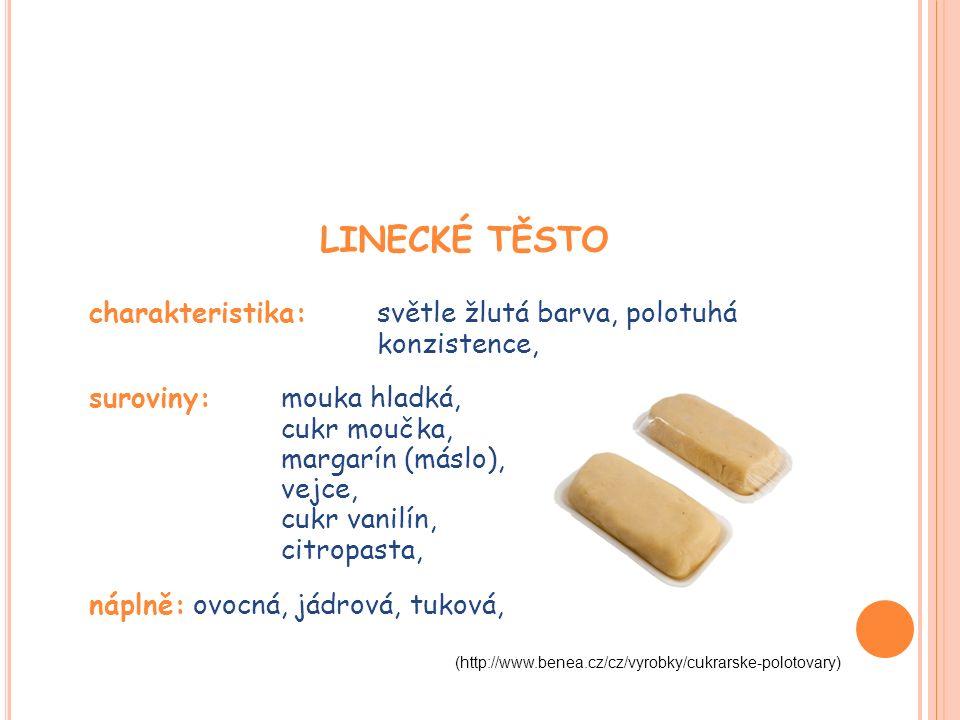 LINECKÉ TĚSTO charakteristika: světle žlutá barva, polotuhá konzistence, suroviny: mouka hladká, cukr moučka, margarín (máslo), vejce, cukr vanilín, citropasta, náplně: ovocná, jádrová, tuková, (http://www.benea.cz/cz/vyrobky/cukrarske-polotovary)
