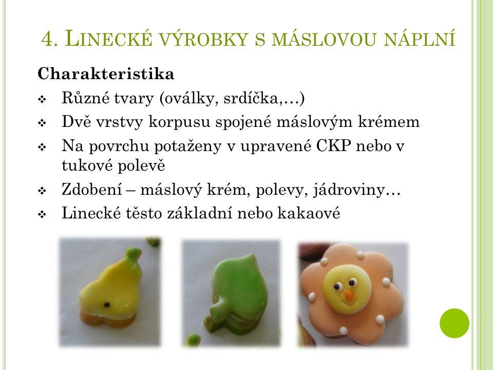 4. L INECKÉ VÝROBKY S MÁSLOVOU NÁPLNÍ Charakteristika  Různé tvary (oválky, srdíčka,…)  Dvě vrstvy korpusu spojené máslovým krémem  Na povrchu pota