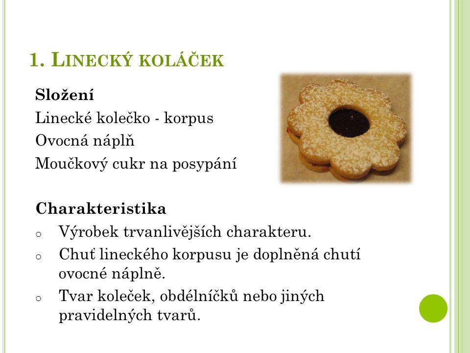 1. L INECKÝ KOLÁČEK Složení Linecké kolečko - korpus Ovocná náplň Moučkový cukr na posypání Charakteristika o Výrobek trvanlivějších charakteru. o Chu