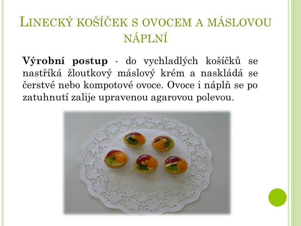 L INECKÝ KOŠÍČEK S OVOCEM A MÁSLOVOU NÁPLNÍ Výrobní postup - do vychladlých košíčků se nastříká žloutkový máslový krém a naskládá se čerstvé nebo kompotové ovoce.