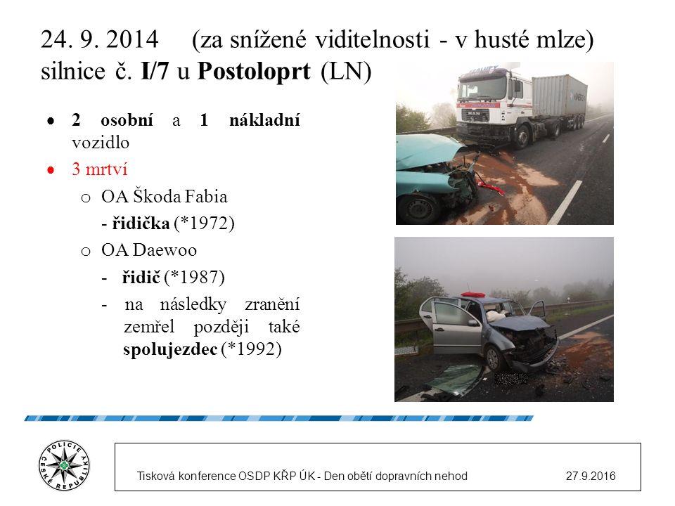 24. 9. 2014 (za snížené viditelnosti - v husté mlze) silnice č.