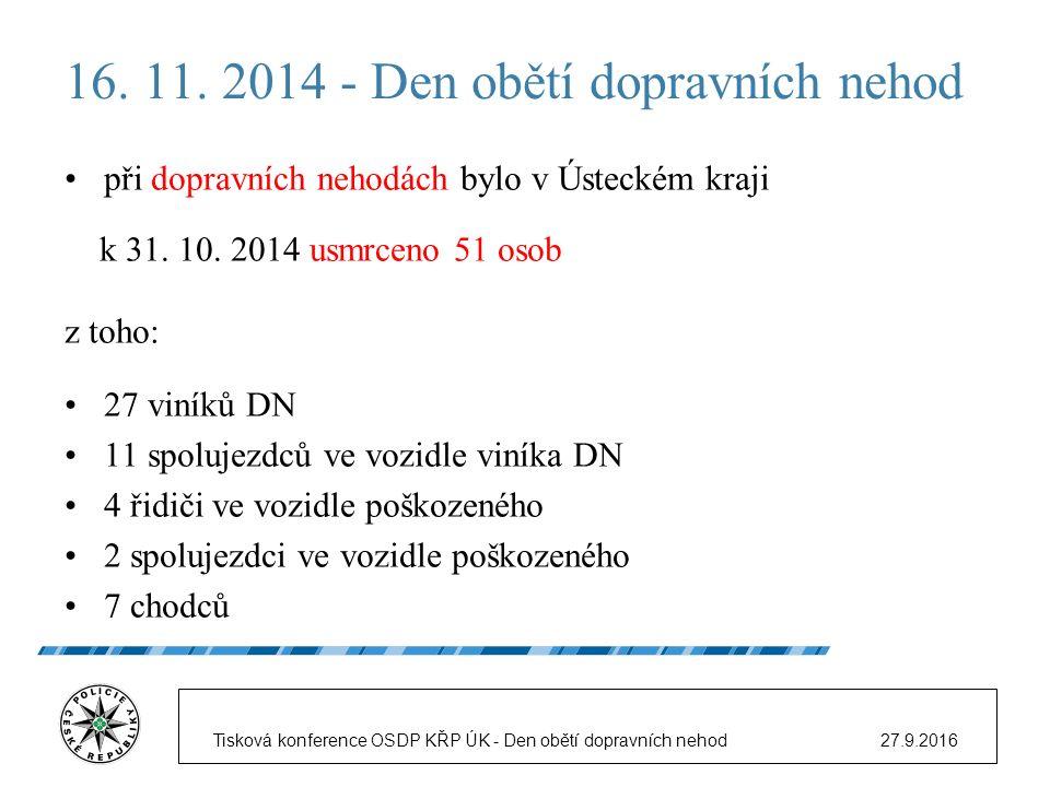16. 11. 2014 - Den obětí dopravních nehod při dopravních nehodách bylo v Ústeckém kraji k 31.