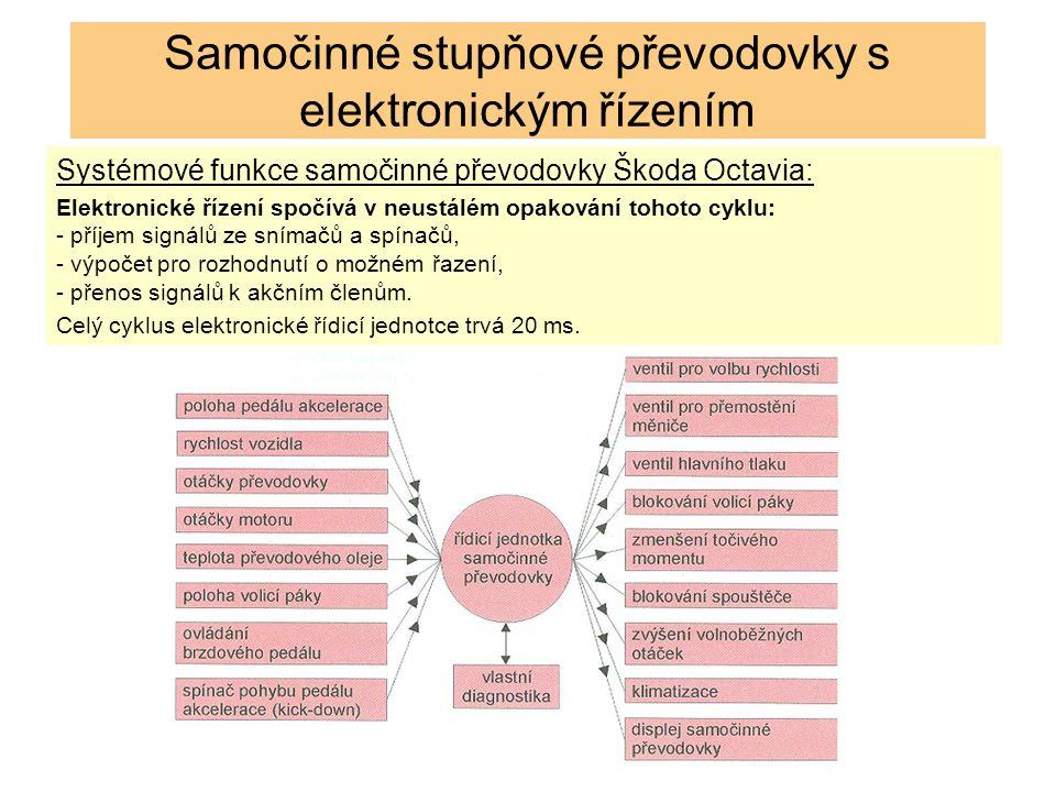 Systémové funkce samočinné převodovky Škoda Octavia: Elektronické řízení spočívá v neustálém opakování tohoto cyklu: - příjem signálů ze snímačů a spínačů, - výpočet pro rozhodnutí o možném řazení, - přenos signálů k akčním členům.
