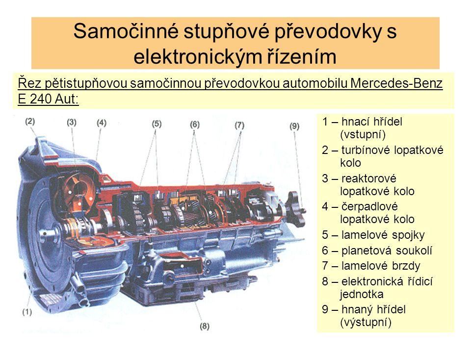 Řez pětistupňovou samočinnou převodovkou automobilu Mercedes-Benz E 240 Aut: 1 – hnací hřídel (vstupní) 2 – turbínové lopatkové kolo 3 – reaktorové lopatkové kolo 4 – čerpadlové lopatkové kolo 5 – lamelové spojky 6 – planetová soukolí 7 – lamelové brzdy 8 – elektronická řídicí jednotka 9 – hnaný hřídel (výstupní) Samočinné stupňové převodovky s elektronickým řízením