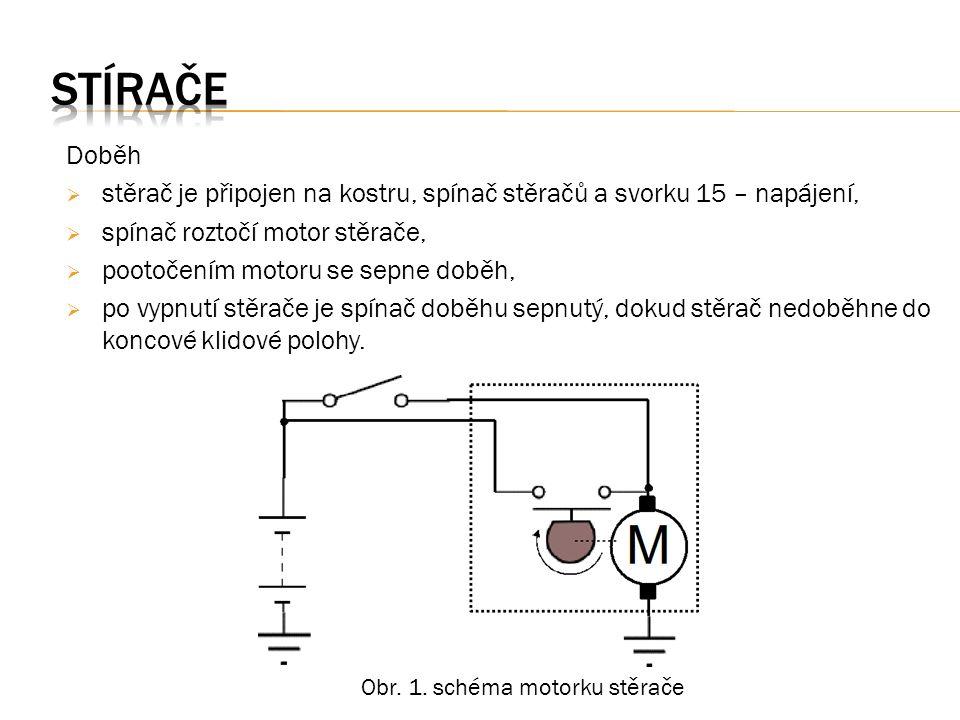 Doběh  stěrač je připojen na kostru, spínač stěračů a svorku 15 – napájení,  spínač roztočí motor stěrače,  pootočením motoru se sepne doběh,  po