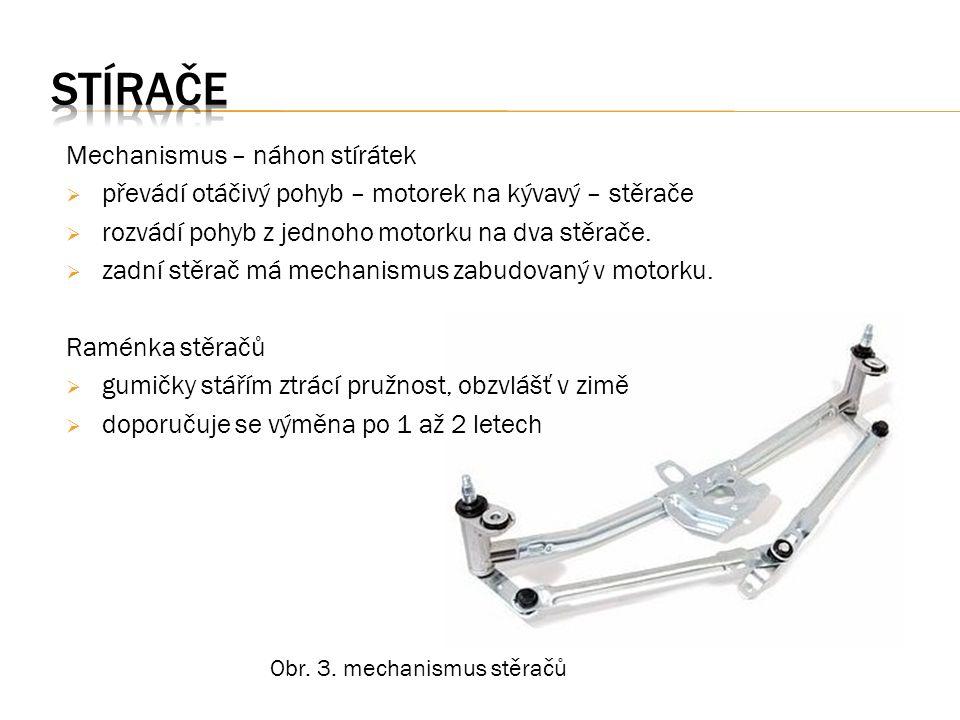 Mechanismus – náhon stírátek  převádí otáčivý pohyb – motorek na kývavý – stěrače  rozvádí pohyb z jednoho motorku na dva stěrače.  zadní stěrač má