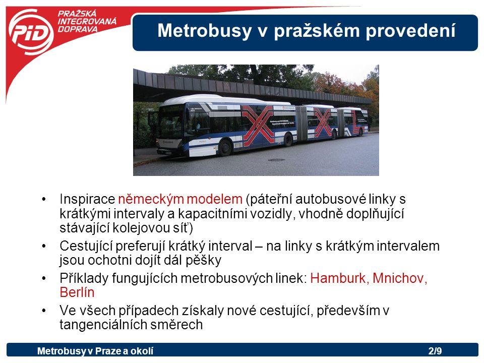 Metrobusy v pražském provedení Inspirace německým modelem (páteřní autobusové linky s krátkými intervaly a kapacitními vozidly, vhodně doplňující stávající kolejovou síť) Cestující preferují krátký interval – na linky s krátkým intervalem jsou ochotni dojít dál pěšky Příklady fungujících metrobusových linek: Hamburk, Mnichov, Berlín Ve všech případech získaly nové cestující, především v tangenciálních směrech Metrobusy v Praze a okolí2/9