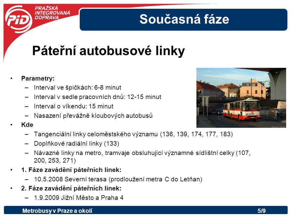 Současná fáze Parametry: –Interval ve špičkách: 6-8 minut –Interval v sedle pracovních dnů: 12-15 minut –Interval o víkendu: 15 minut –Nasazení převážně kloubových autobusů Kde –Tangenciální linky celoměstského významu (136, 139, 174, 177, 183) –Doplňkové radiální linky (133) –Návazné linky na metro, tramvaje obsluhující významné sídlištní celky (107, 200, 253, 271) 1.