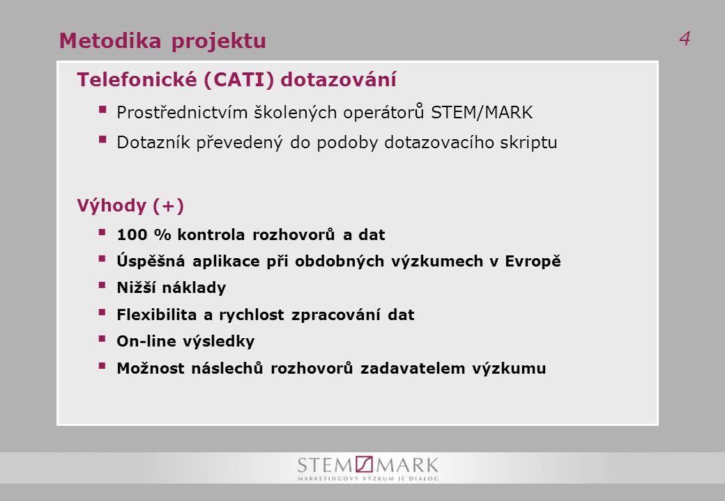 4 Metodika projektu Telefonické (CATI) dotazování  Prostřednictvím školených operátorů STEM/MARK  Dotazník převedený do podoby dotazovacího skriptu Výhody (+)  100 % kontrola rozhovorů a dat  Úspěšná aplikace při obdobných výzkumech v Evropě  Nižší náklady  Flexibilita a rychlost zpracování dat  On-line výsledky  Možnost náslechů rozhovorů zadavatelem výzkumu