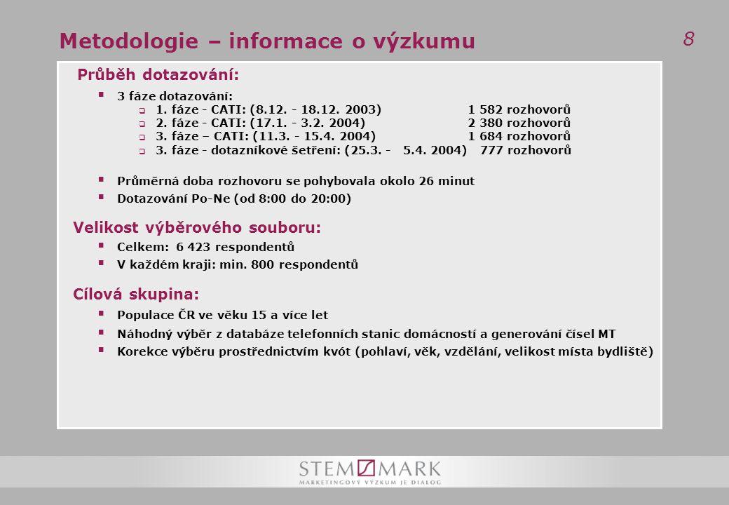 8 Metodologie – informace o výzkumu Průběh dotazování:  3 fáze dotazování:  1.