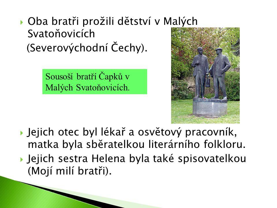  Oba bratři prožili dětství v Malých Svatoňovicích (Severovýchodní Čechy).