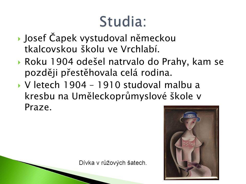  Josef Čapek vystudoval německou tkalcovskou školu ve Vrchlabí.