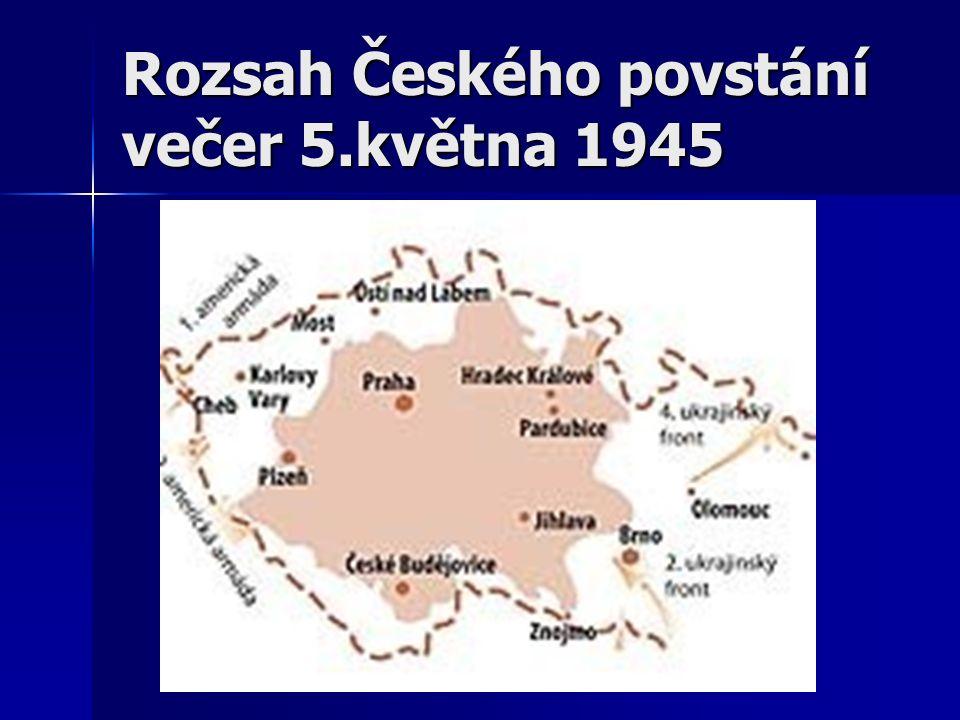 Rozsah Českého povstání večer 5.května 1945