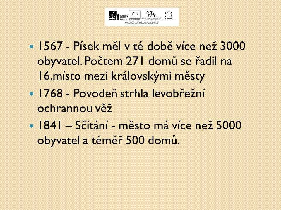 1567 - Písek měl v té době více než 3000 obyvatel.