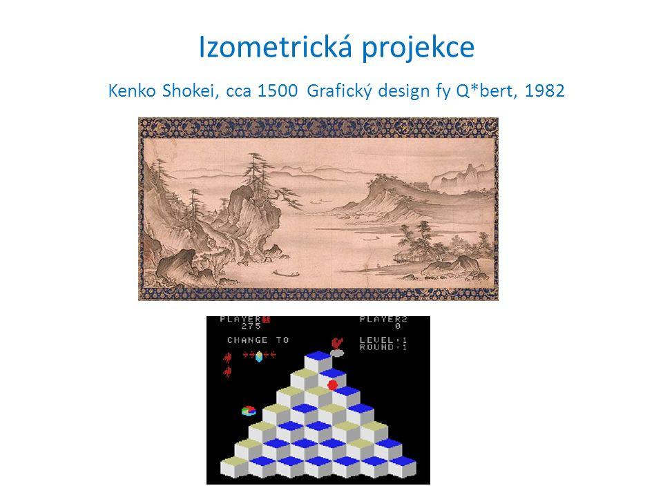 Izometrická projekce Kenko Shokei, cca 1500 Grafický design fy Q*bert, 1982