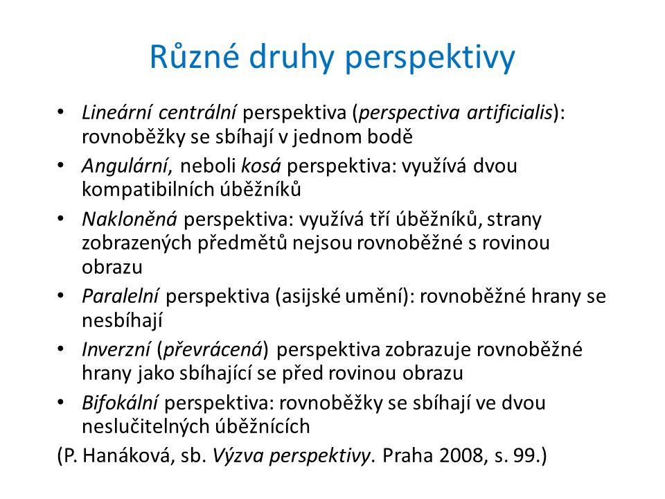 Různé druhy perspektivy Lineární centrální perspektiva (perspectiva artificialis): rovnoběžky se sbíhají v jednom bodě Angulární, neboli kosá perspektiva: využívá dvou kompatibilních úběžníků Nakloněná perspektiva: využívá tří úběžníků, strany zobrazených předmětů nejsou rovnoběžné s rovinou obrazu Paralelní perspektiva (asijské umění): rovnoběžné hrany se nesbíhají Inverzní (převrácená) perspektiva zobrazuje rovnoběžné hrany jako sbíhající se před rovinou obrazu Bifokální perspektiva: rovnoběžky se sbíhají ve dvou neslučitelných úběžnících (P.