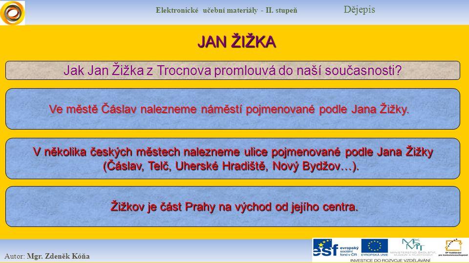 Elektronické učební materiály - II. stupeň Dějepis Autor: Mgr. Zdeněk Kóňa JAN ŽIŽKA Jak Jan Žižka z Trocnova promlouvá do naší současnosti? Ve městě