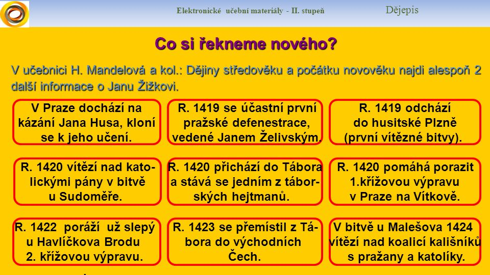 Elektronické učební materiály - II. stupeň Dějepis Co si řekneme nového.