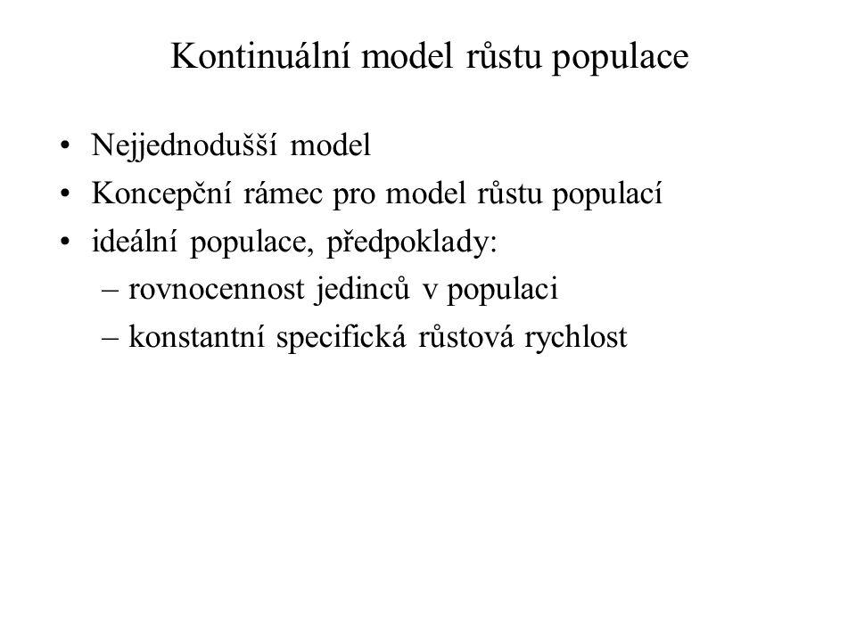 Kontinuální model růstu populace Nejjednodušší model Koncepční rámec pro model růstu populací ideální populace, předpoklady: –rovnocennost jedinců v populaci –konstantní specifická růstová rychlost