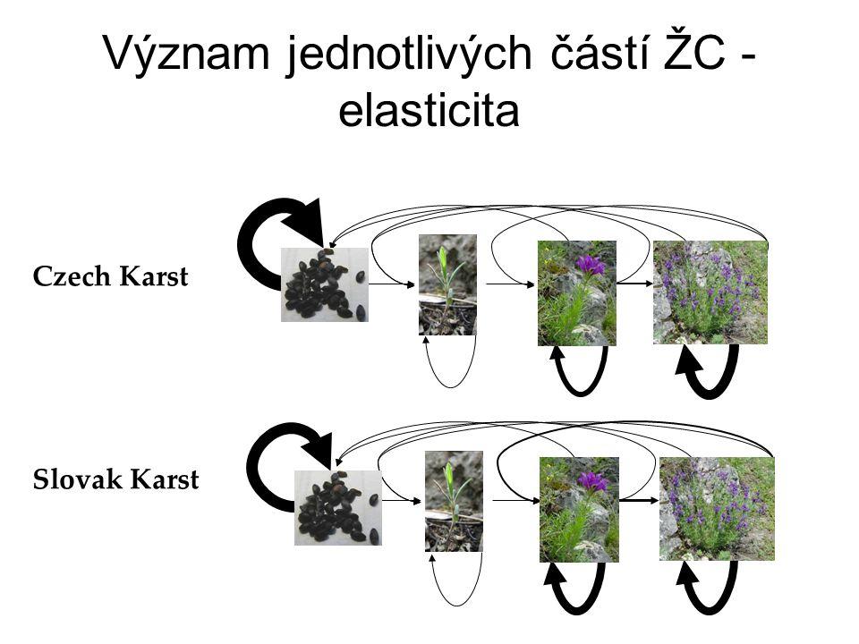 Význam jednotlivých částí ŽC - elasticita Slovak Karst Czech Karst
