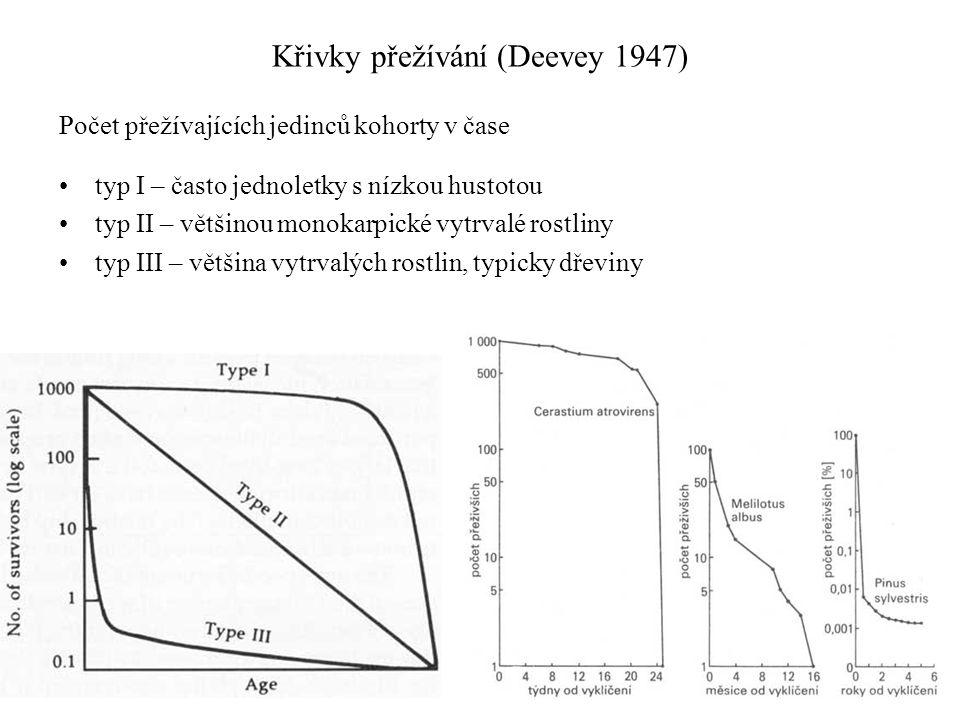 Křivky přežívání (Deevey 1947) Počet přežívajících jedinců kohorty v čase typ I – často jednoletky s nízkou hustotou typ II – většinou monokarpické vytrvalé rostliny typ III – většina vytrvalých rostlin, typicky dřeviny