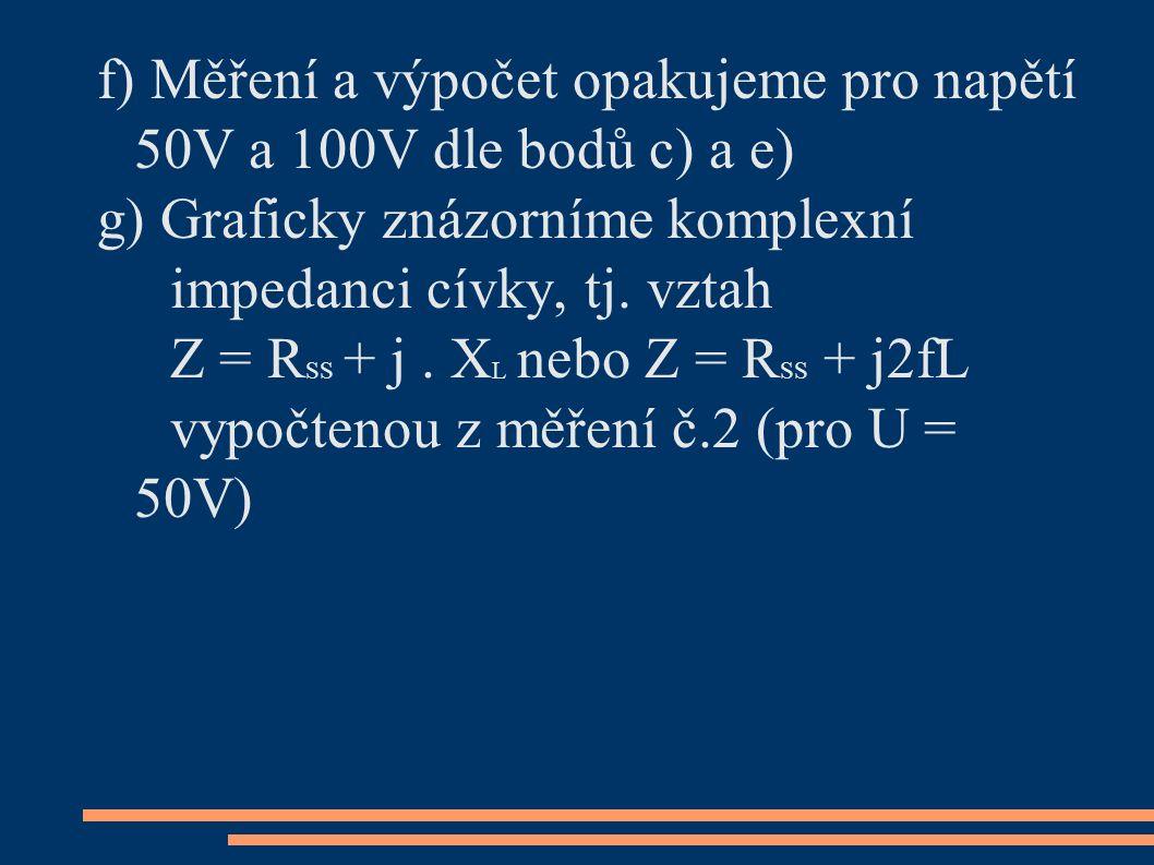f) Měření a výpočet opakujeme pro napětí 50V a 100V dle bodů c) a e) g) Graficky znázorníme komplexní impedanci cívky, tj.