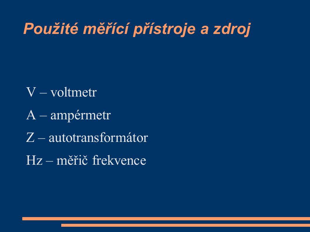 Použité měřící přístroje a zdroj V – voltmetr A – ampérmetr Z – autotransformátor Hz – měřič frekvence