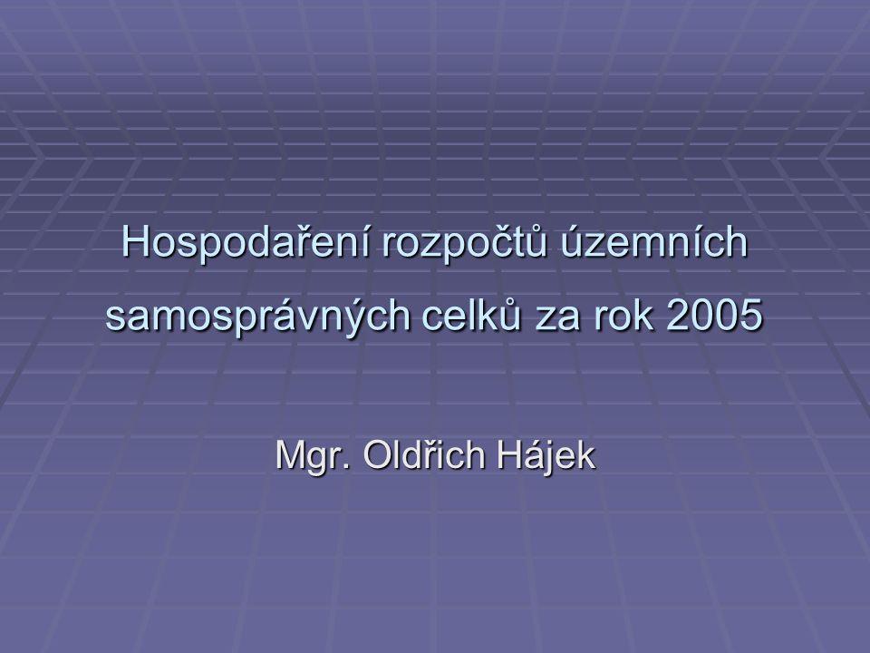 Hospodaření rozpočtů územních samosprávných celků za rok 2005 Mgr. Oldřich Hájek