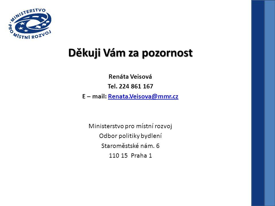 Děkuji Vám za pozornost Renáta Veisová Tel. 224 861 167 E – mail: Renata.Veisova@mmr.czRenata.Veisova@mmr.cz Ministerstvo pro místní rozvoj Odbor poli