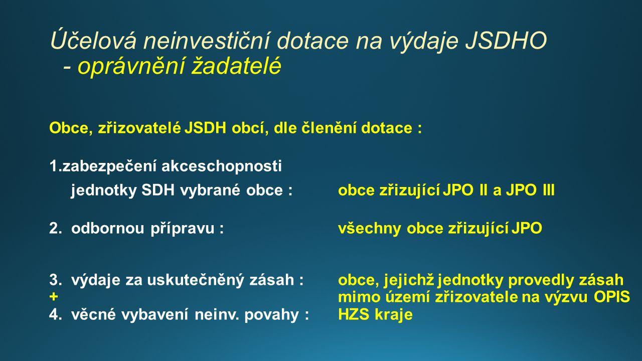 Účelová neinvestiční dotace na výdaje JSDHO - oprávnění žadatelé Obce, zřizovatelé JSDH obcí, dle členění dotace : 1.zabezpečení akceschopnosti jednotky SDH vybrané obce : obce zřizující JPO II a JPO III 2.